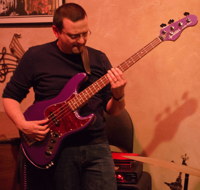 jason raso performing live on his purple spector coda bass guitar